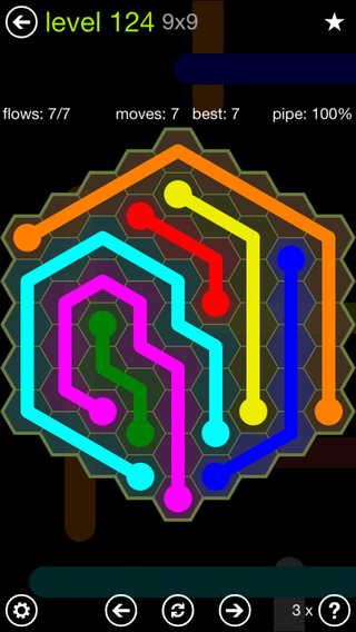 Solution and Answer to the Puzzle for Flow Hexes Pack Set 5x5 Level 124