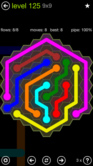 Solution and Answer to the Puzzle for Flow Hexes Pack Set 5x5 Level 125