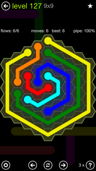 Solution and Answer to the Puzzle for Flow Hexes Pack Set 5x5 Level 127