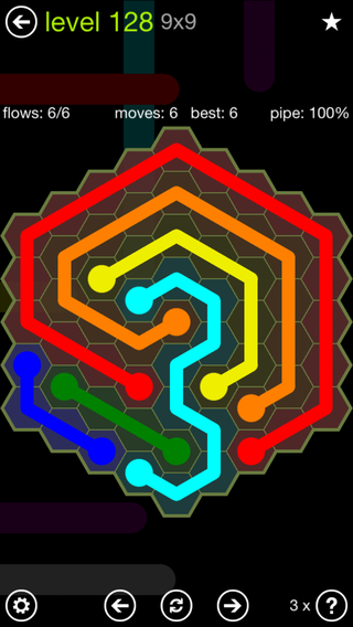 Solution and Answer to the Puzzle for Flow Hexes Pack Set 5x5 Level 128