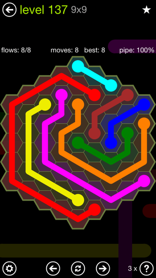 Solution and Answer to the Puzzle for Flow Hexes Pack Set 5x5 Level 137