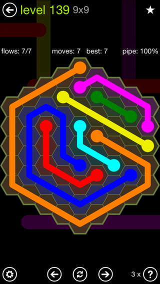 Solution and Answer to the Puzzle for Flow Hexes Pack Set 5x5 Level 139