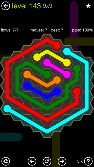 Solution and Answer to the Puzzle for Flow Hexes Pack Set 5x5 Level 143