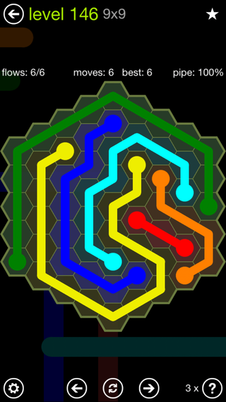 Solution and Answer to the Puzzle for Flow Hexes Pack Set 5x5 Level 146