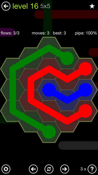 Solution and Answer to the Puzzle for Flow Hexes Pack Set 5x5 Level 16
