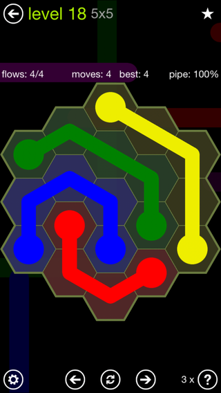 Solution and Answer to the Puzzle for Flow Hexes Pack Set 5x5 Level 18