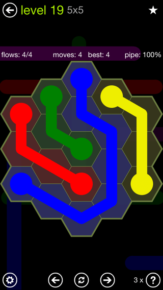Solution and Answer to the Puzzle for Flow Hexes Pack Set 5x5 Level 19
