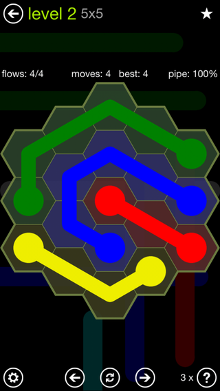 Solution and Answer to the Puzzle for Flow Hexes Pack Set 5x5 Level 2