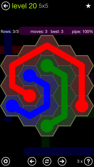 Solution and Answer to the Puzzle for Flow Hexes Pack Set 5x5 Level 20