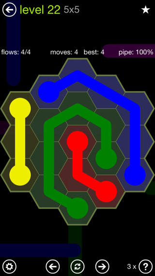 Solution and Answer to the Puzzle for Flow Hexes Pack Set 5x5 Level 22