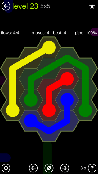 Solution and Answer to the Puzzle for Flow Hexes Pack Set 5x5 Level 23