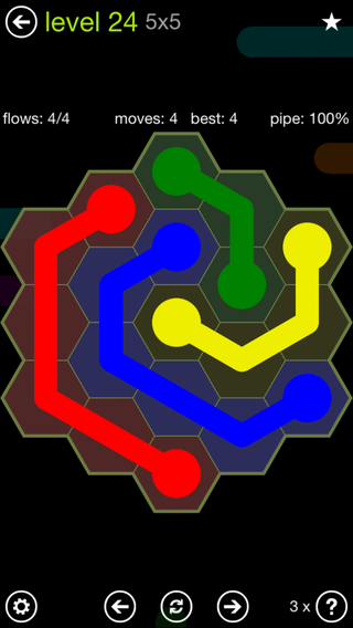 Solution and Answer to the Puzzle for Flow Hexes Pack Set 5x5 Level 24