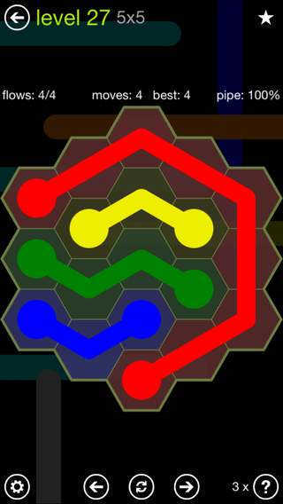 Solution and Answer to the Puzzle for Flow Hexes Pack Set 5x5 Level 27