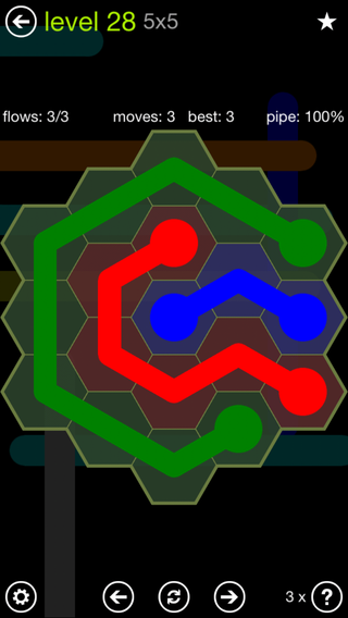 Solution and Answer to the Puzzle for Flow Hexes Pack Set 5x5 Level 28