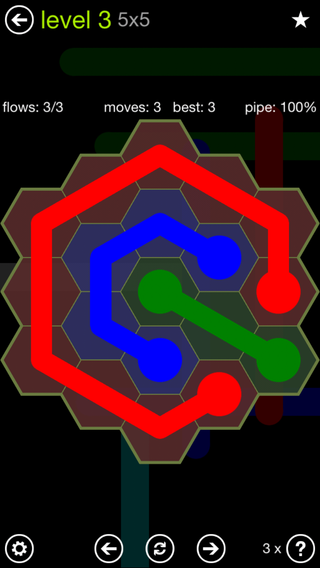 Solution and Answer to the Puzzle for Flow Hexes Pack Set 5x5 Level 3