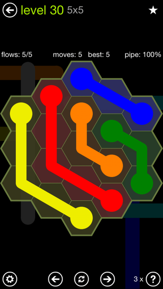 Solution and Answer to the Puzzle for Flow Hexes Pack Set 5x5 Level 30