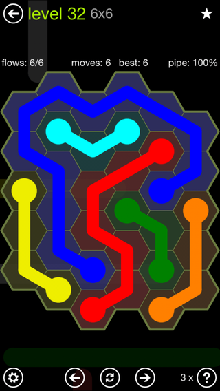 Solution and Answer to the Puzzle for Flow Hexes Pack Set 5x5 Level 32