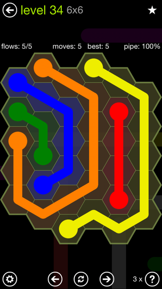Solution and Answer to the Puzzle for Flow Hexes Pack Set 5x5 Level 34