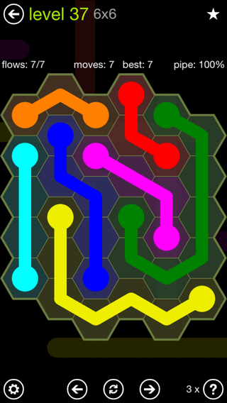 Solution and Answer to the Puzzle for Flow Hexes Pack Set 5x5 Level 37