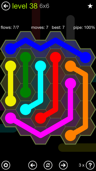 Solution and Answer to the Puzzle for Flow Hexes Pack Set 5x5 Level 38