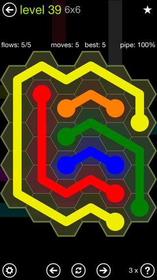 Solution and Answer to the Puzzle for Flow Hexes Pack Set 5x5 Level 39
