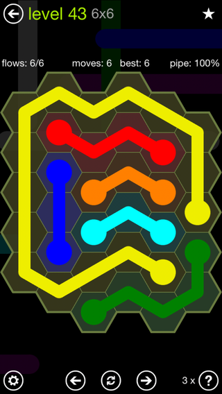 Solution and Answer to the Puzzle for Flow Hexes Pack Set 5x5 Level 43