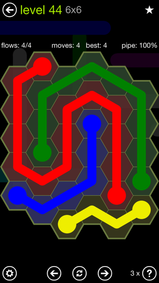 Solution and Answer to the Puzzle for Flow Hexes Pack Set 5x5 Level 44