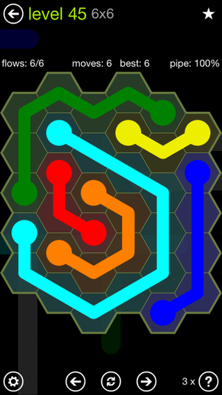 Solution and Answer to the Puzzle for Flow Hexes Pack Set 5x5 Level 45