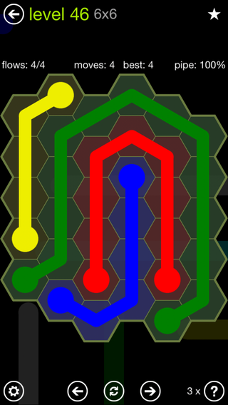 Solution and Answer to the Puzzle for Flow Hexes Pack Set 5x5 Level 46