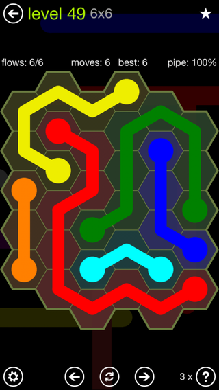 Solution and Answer to the Puzzle for Flow Hexes Pack Set 5x5 Level 49