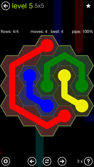 Solution and Answer to the Puzzle for Flow Hexes Pack Set 5x5 Level 5