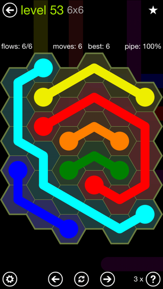 Solution and Answer to the Puzzle for Flow Hexes Pack Set 5x5 Level 53