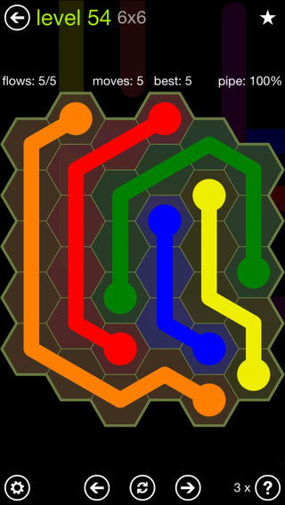 Solution and Answer to the Puzzle for Flow Hexes Pack Set 5x5 Level 54
