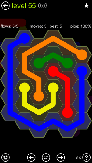 Solution and Answer to the Puzzle for Flow Hexes Pack Set 5x5 Level 55