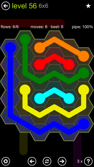 Solution and Answer to the Puzzle for Flow Hexes Pack Set 5x5 Level 56