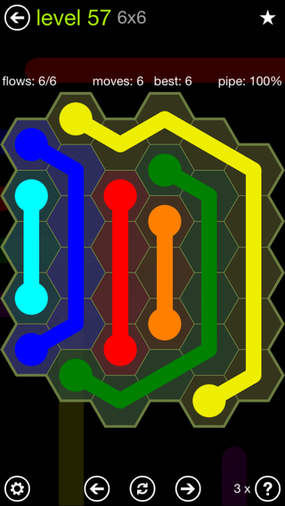 Solution and Answer to the Puzzle for Flow Hexes Pack Set 5x5 Level 57