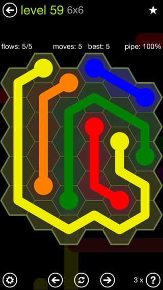 Solution and Answer to the Puzzle for Flow Hexes Pack Set 5x5 Level 59