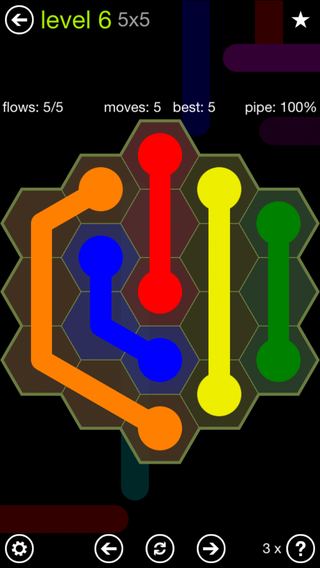 Solution and Answer to the Puzzle for Flow Hexes Pack Set 5x5 Level 6