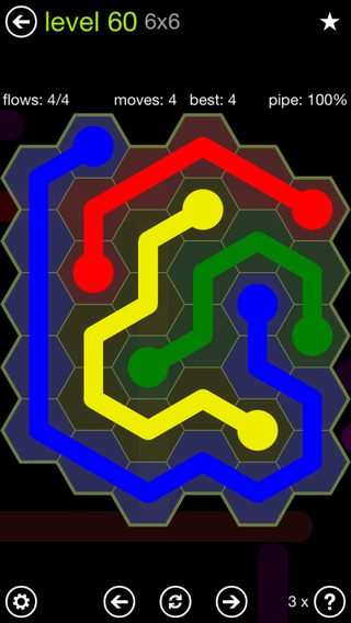Solution and Answer to the Puzzle for Flow Hexes Pack Set 5x5 Level 60