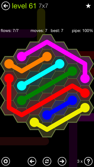 Solution and Answer to the Puzzle for Flow Hexes Pack Set 5x5 Level 61