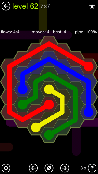 Solution and Answer to the Puzzle for Flow Hexes Pack Set 5x5 Level 62