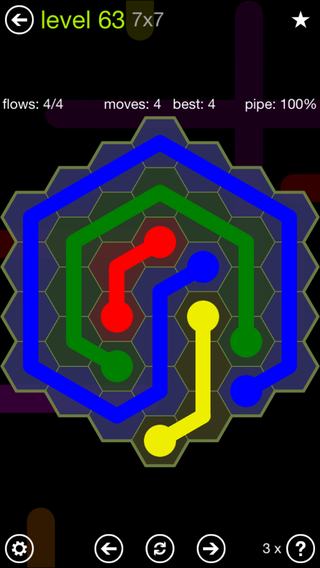 Solution and Answer to the Puzzle for Flow Hexes Pack Set 5x5 Level 63