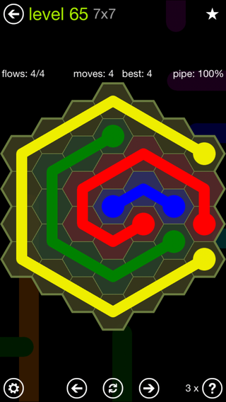 Solution and Answer to the Puzzle for Flow Hexes Pack Set 5x5 Level 65