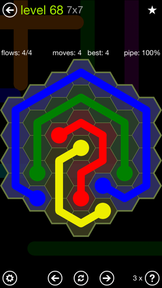 Solution and Answer to the Puzzle for Flow Hexes Pack Set 5x5 Level 68