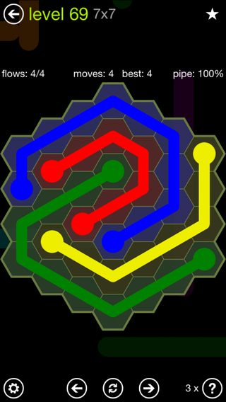 Solution and Answer to the Puzzle for Flow Hexes Pack Set 5x5 Level 69