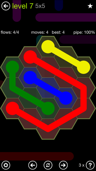 Solution and Answer to the Puzzle for Flow Hexes Pack Set 5x5 Level 7