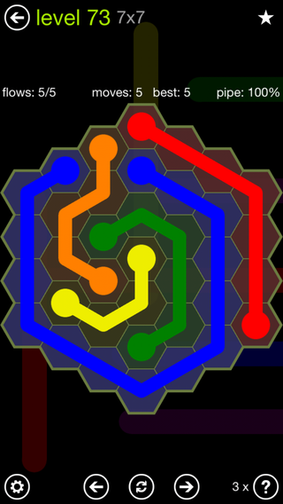 Solution and Answer to the Puzzle for Flow Hexes Pack Set 5x5 Level 73