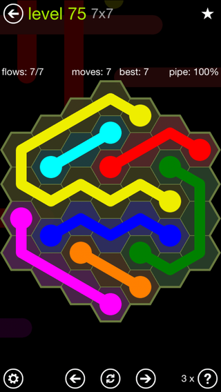 Solution and Answer to the Puzzle for Flow Hexes Pack Set 5x5 Level 75