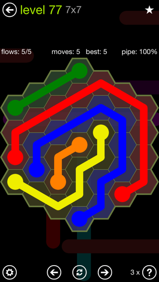 Solution and Answer to the Puzzle for Flow Hexes Pack Set 5x5 Level 77