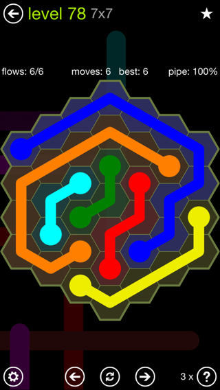 Solution and Answer to the Puzzle for Flow Hexes Pack Set 5x5 Level 78